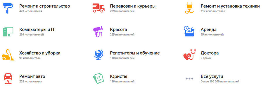 Яндекс Услуги сводят вместе заказчиков и исполнителей.