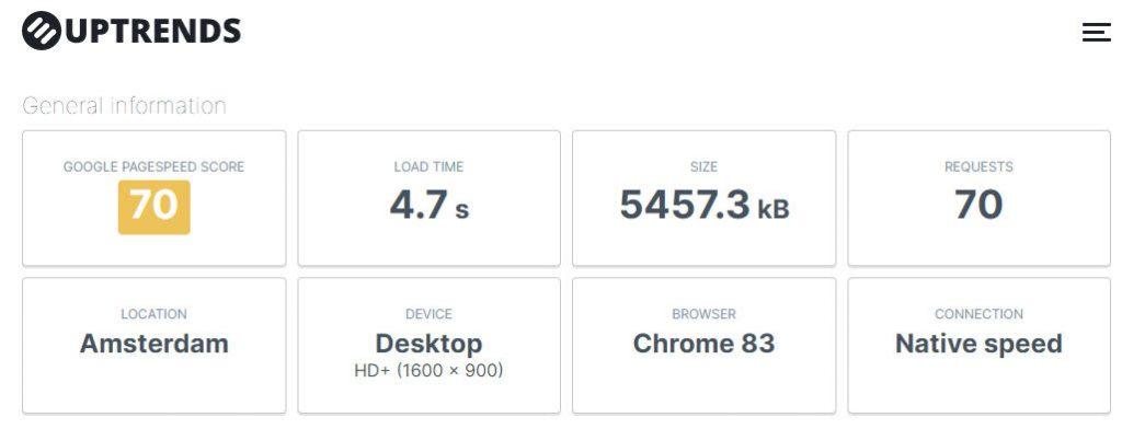 Проверка скорости сайта в Uptrends